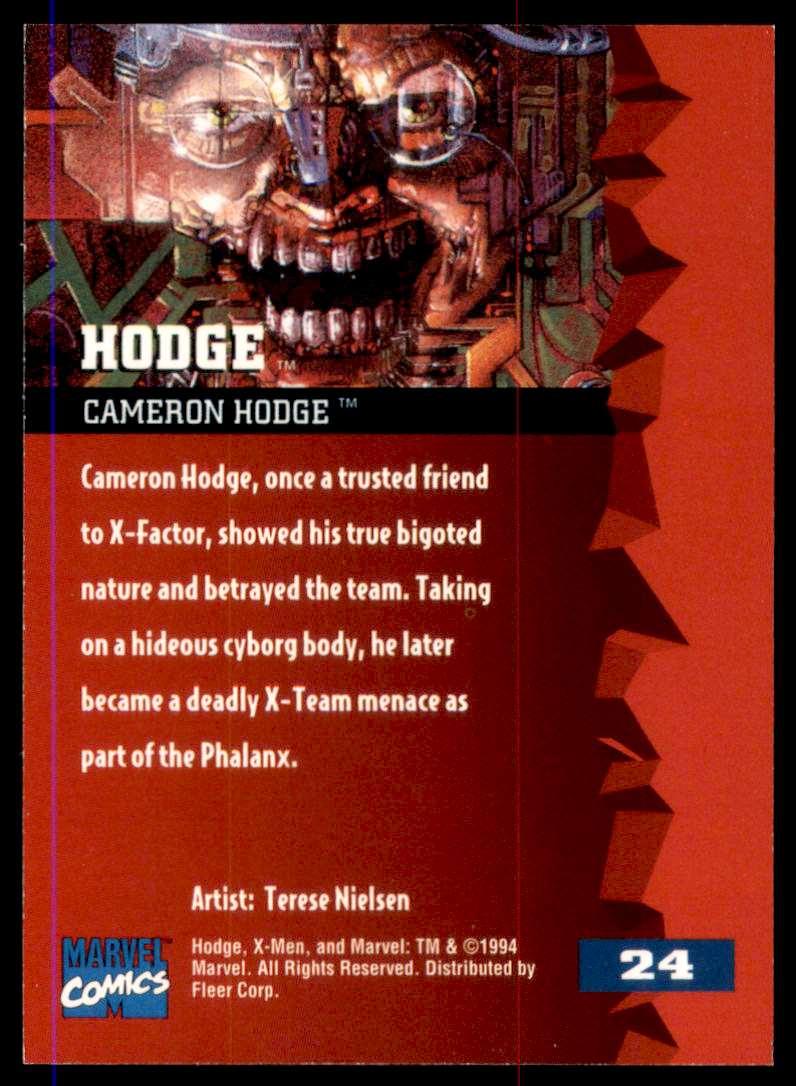 1995 X-Men Ultra Hodge #24 card back image