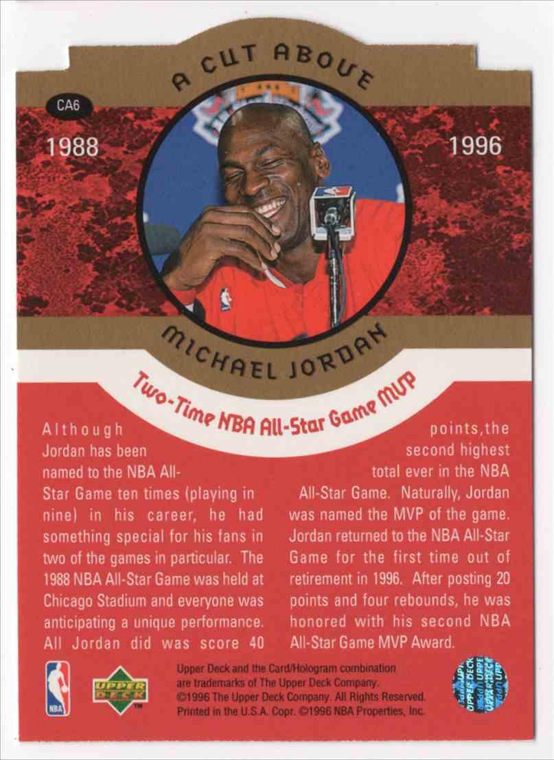 1996-97 Collectors Choice A Cut Above Michael Jordan #CA6 card back image
