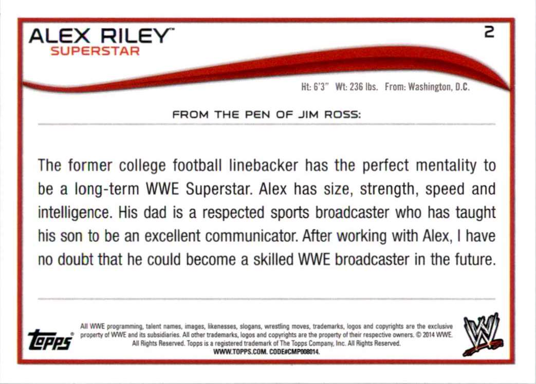 2014 Topps Wwe Alex Riley #2 card back image