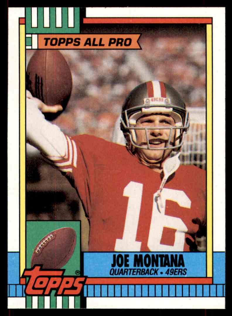 1990 Topps All Pro Factory Blank Back Error Joe Montana 13