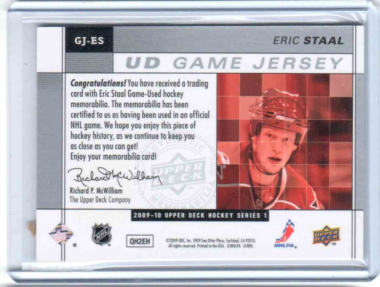 2009-10 Upper Deck Game Jersey Eric Staal #GJ-ES card back image