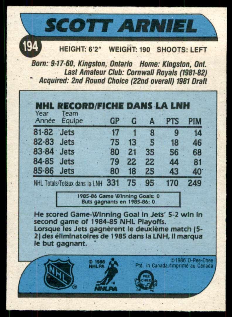 1986-87 OPC Scott Arniel #194 card back image