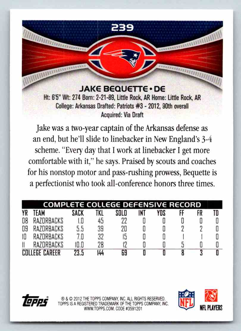 2012 Topps Jake Bequette #239 card back image