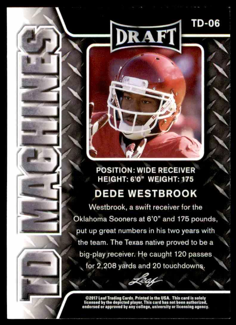 2017 Leaf Draft Dede Westbrook #TD-06 card back image