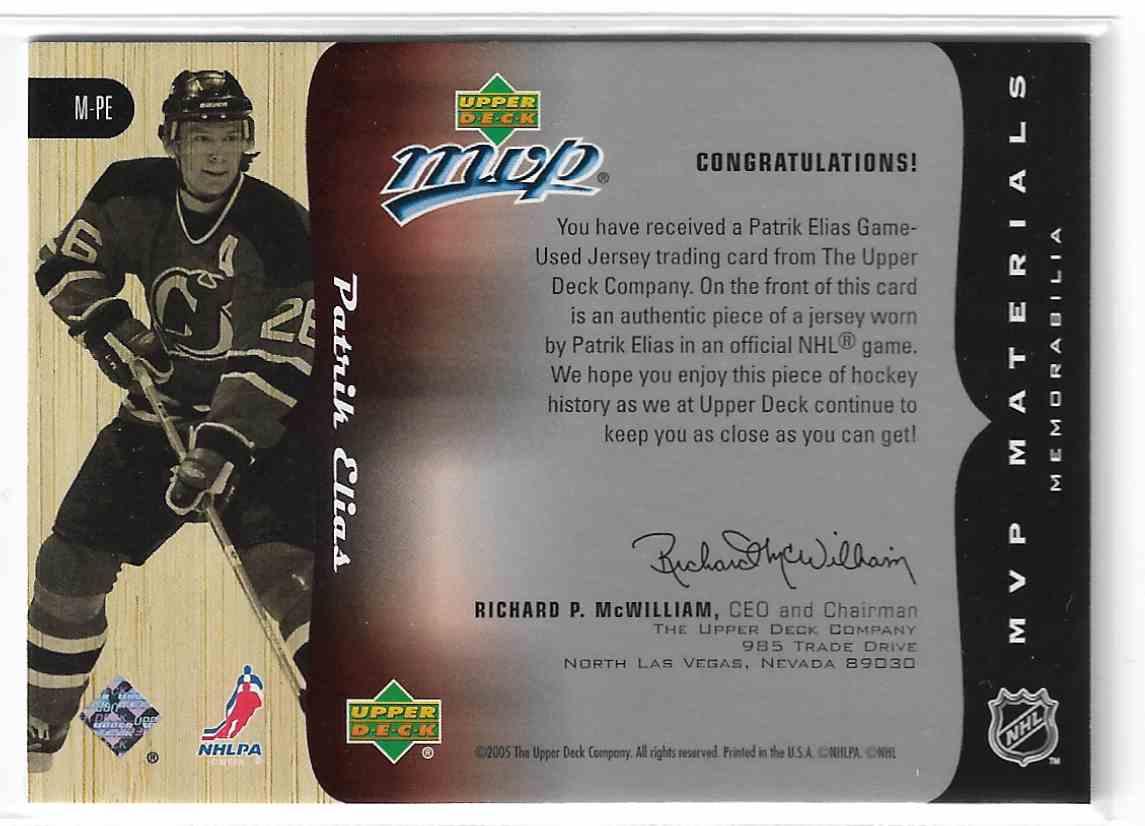 2005-06 Upper Deck MVP MVP Materials Patrik Elias #M-PE card back image