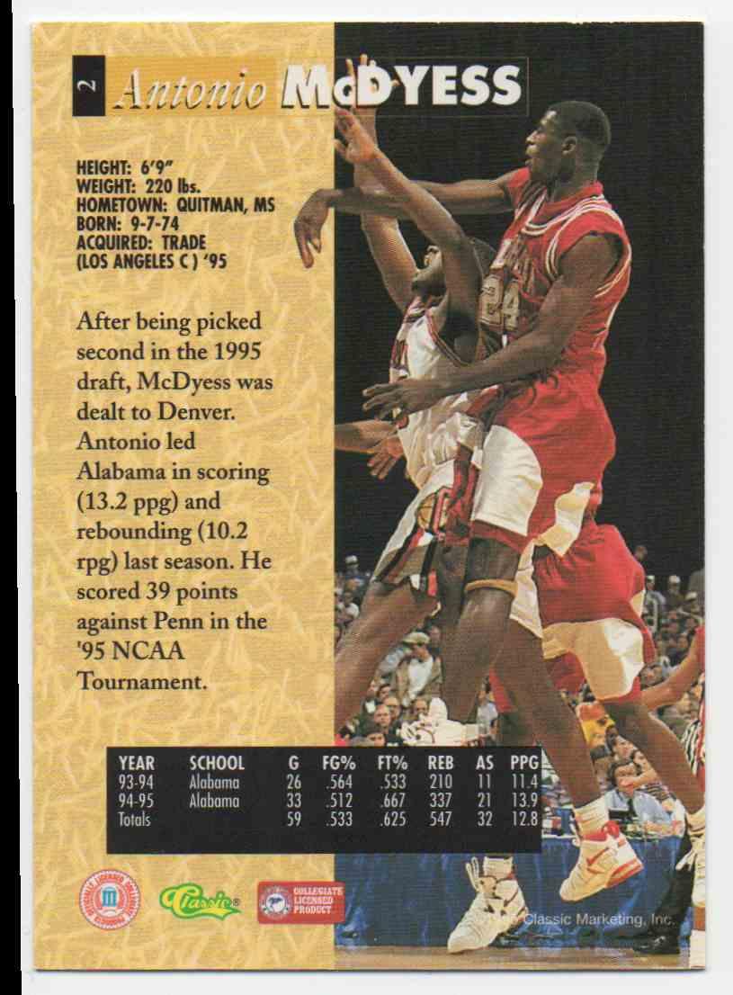 1995-96 Classic 5 Sport Antonio McDyess #2 card back image