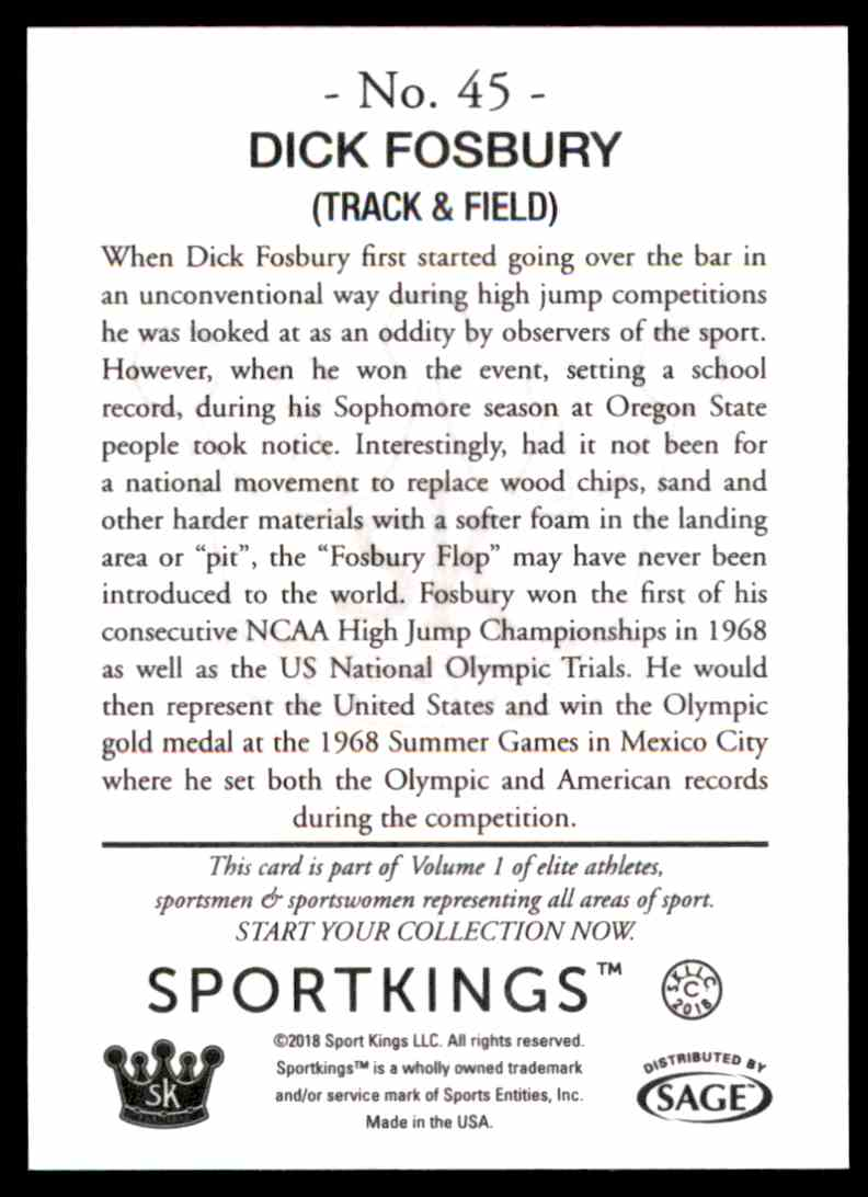 2018 Sportkings Black Back Retail Dick Fosbury #45 card back image