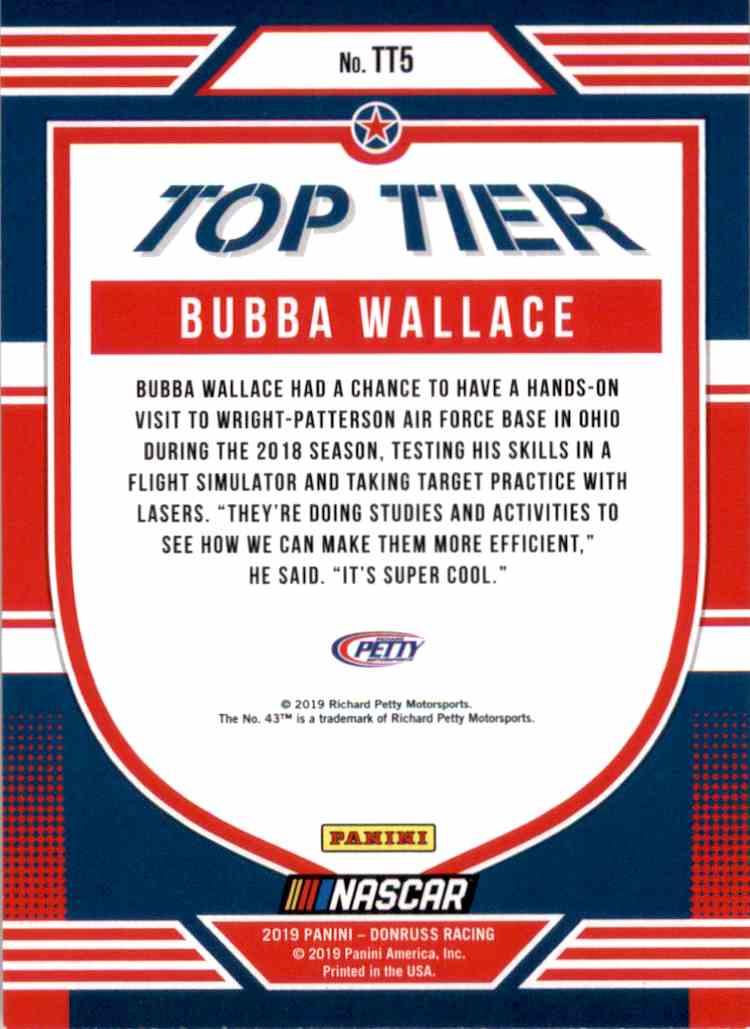2019 Donruss Top Tier Bubba Wallace #TT5 card back image