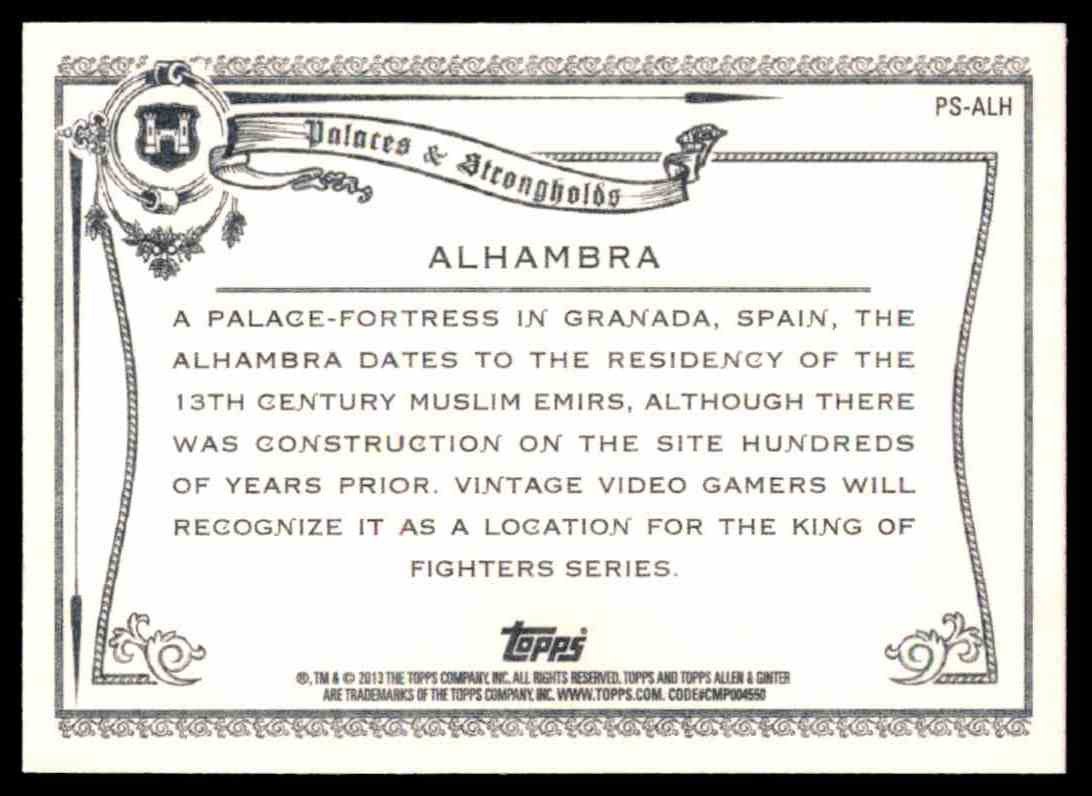 2013 Topps Allen And Ginter Palaces And Strongholds Alhambra #ALH card back image