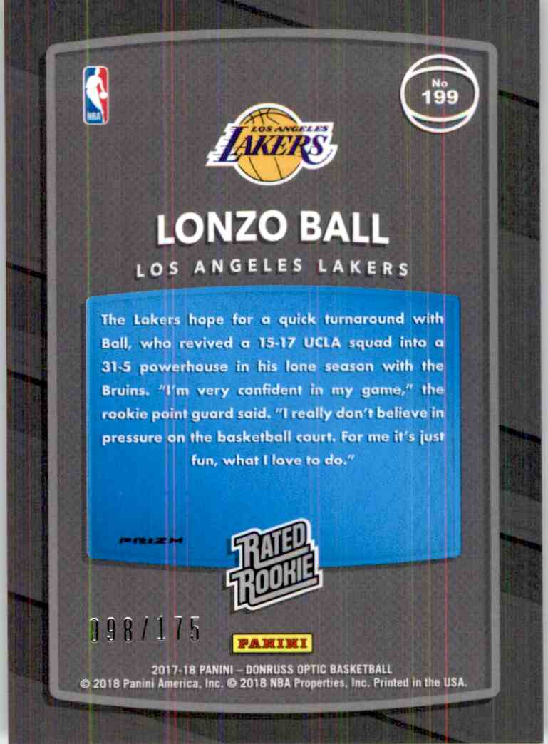 2017-18 Donruss Optic Rated Rookie Lime Green Lonzo Ball #199 card back image