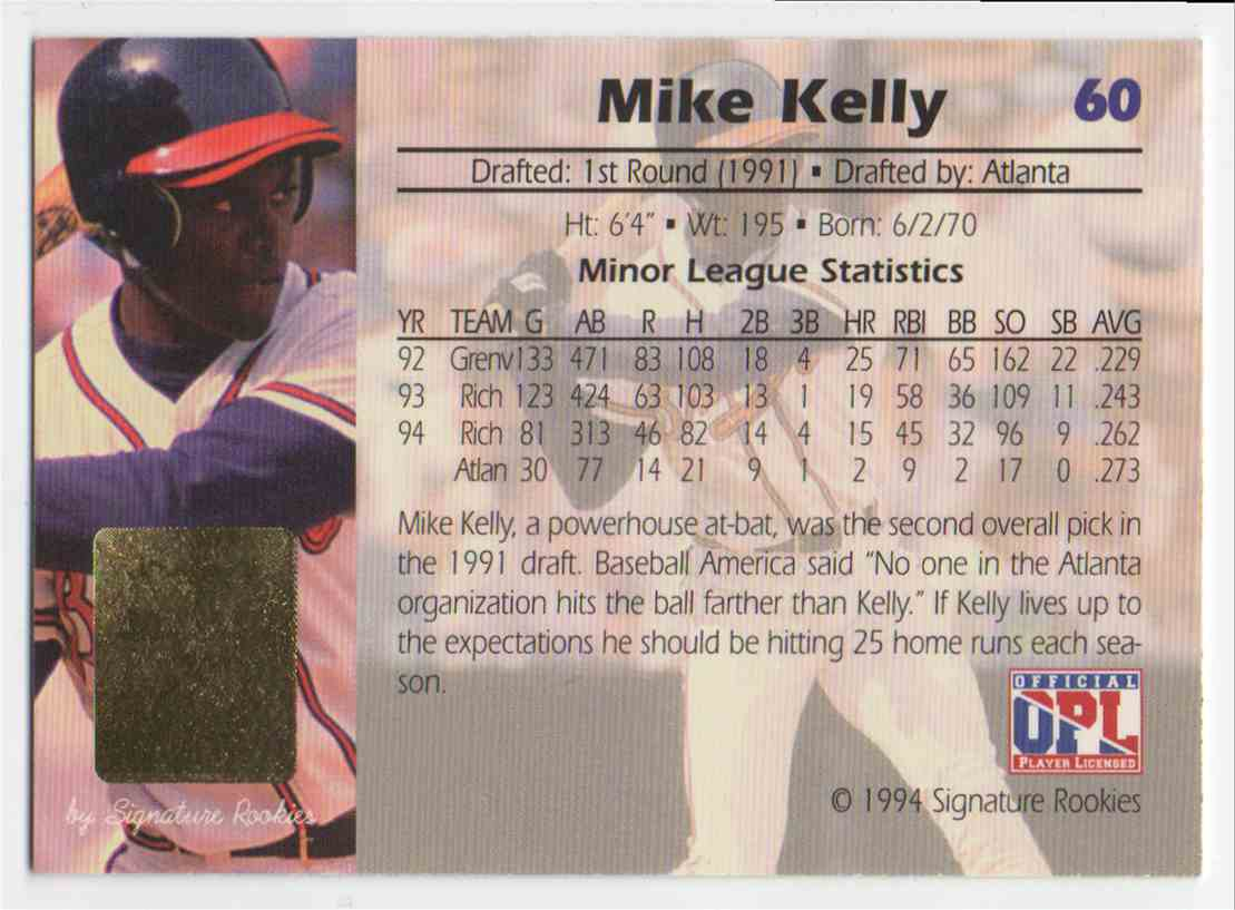 1994 Signature Rookies Gold Standard Mike Kelly #60 card back image