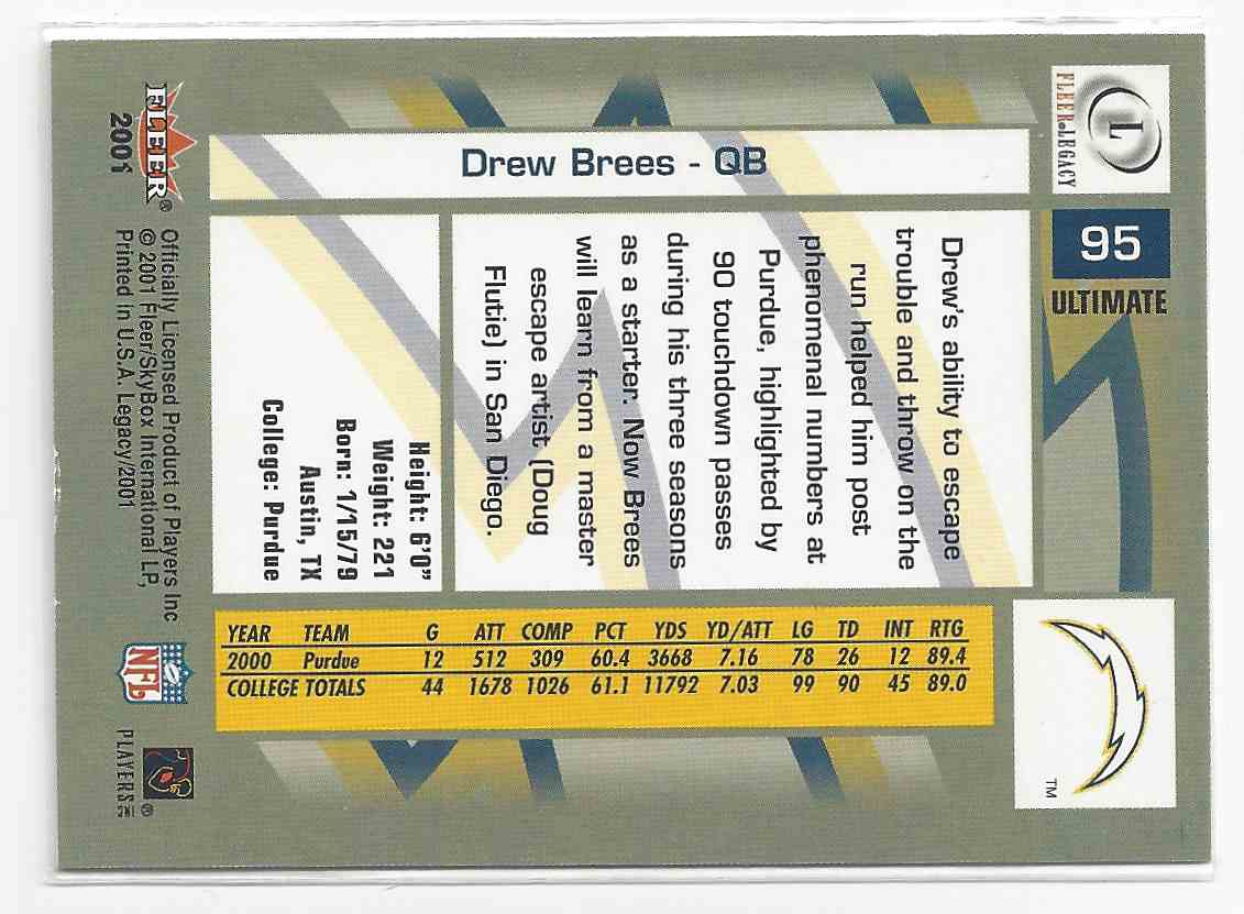 2001 Fleer Legacy Drew Brees #95 card back image