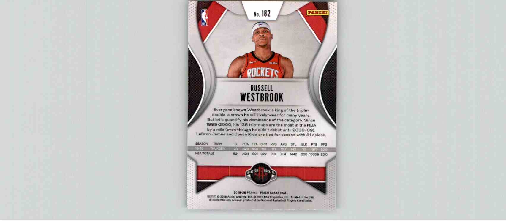 2019-20 Panini Prizm Basketball Prizm Russell Westbrook #182 card back image