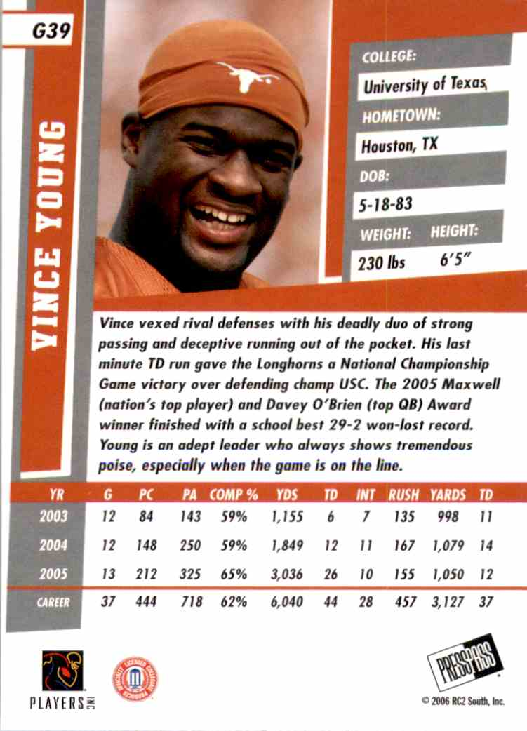 2006 Press Pass Se Gold Vince Young #39 card back image