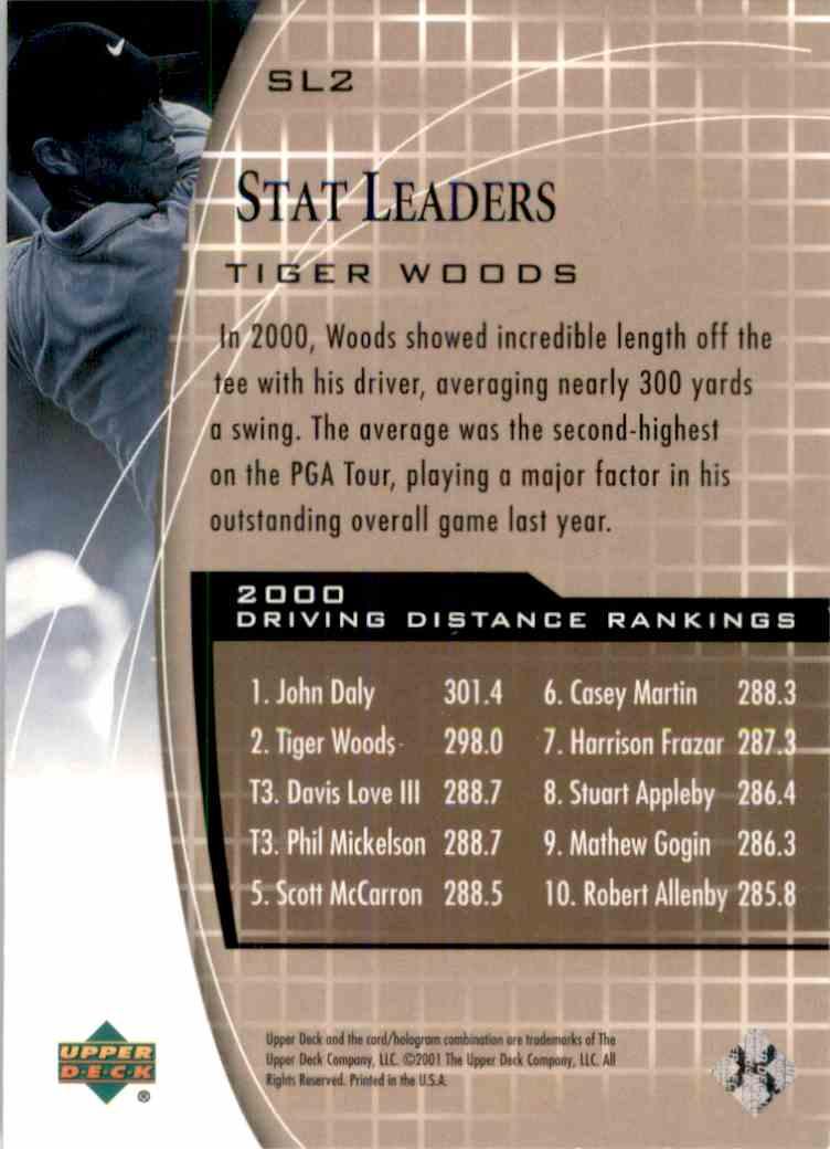 2001 Upper Deck Stat Leaders Tiger Woods #SL2 card back image
