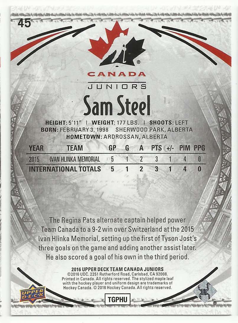 2016-17 Upper Deck Team Canada Juniors Sam Steel #45 card back image