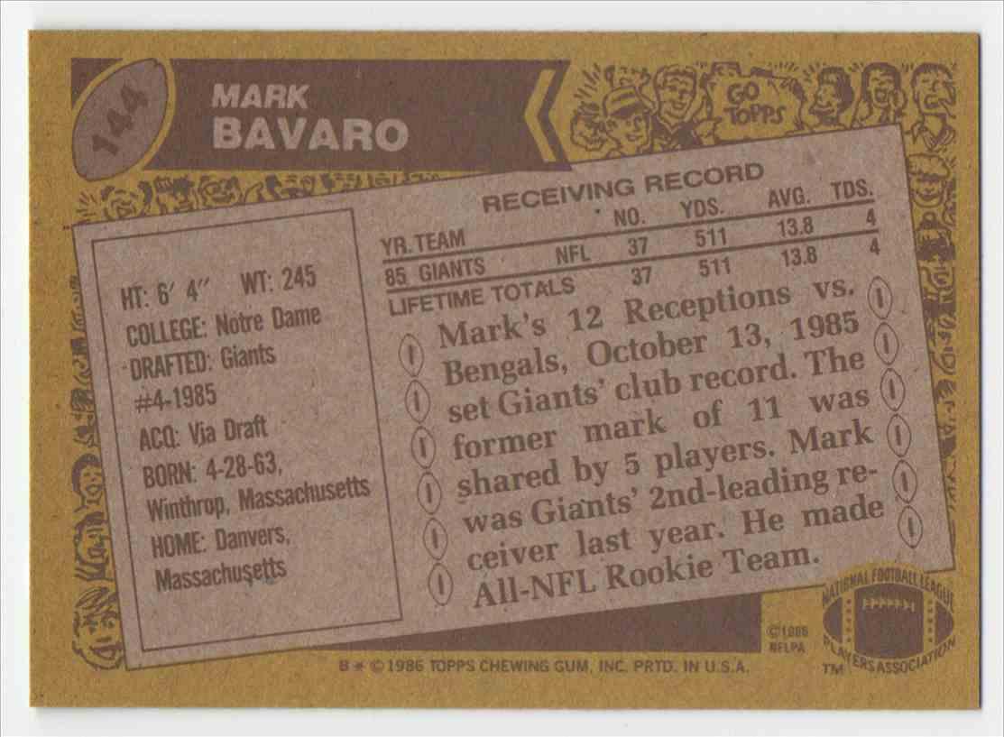 1986 Topps Mark Bavaro #144 card back image