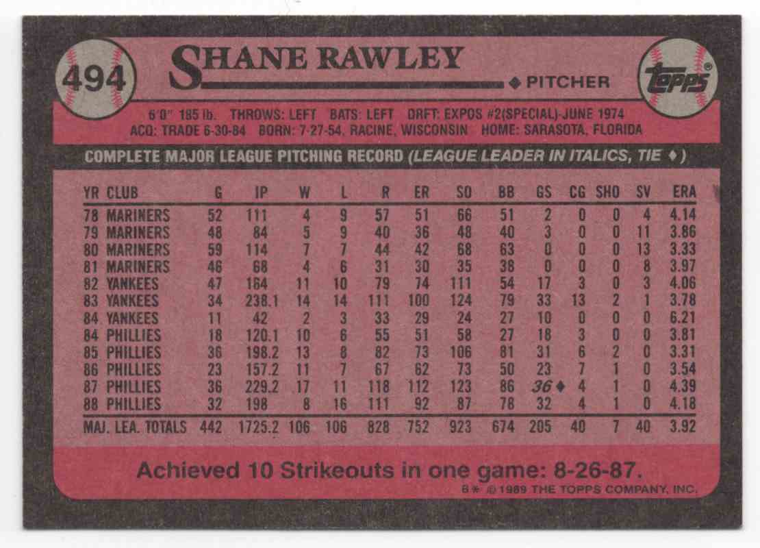 1989 Topps Shane Rawley #494 card back image