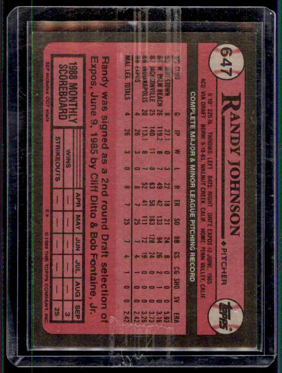 1989 Topps Randy Johnson 647 On Kronozio