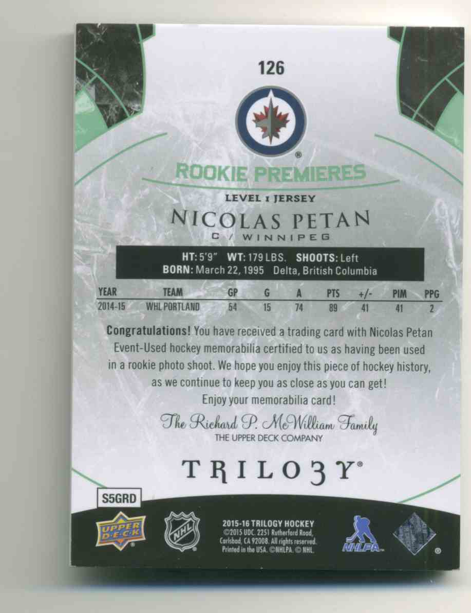 2015-16 Upper Deck Trilogy Rainbow Green Nicolas Petan #126 card back image