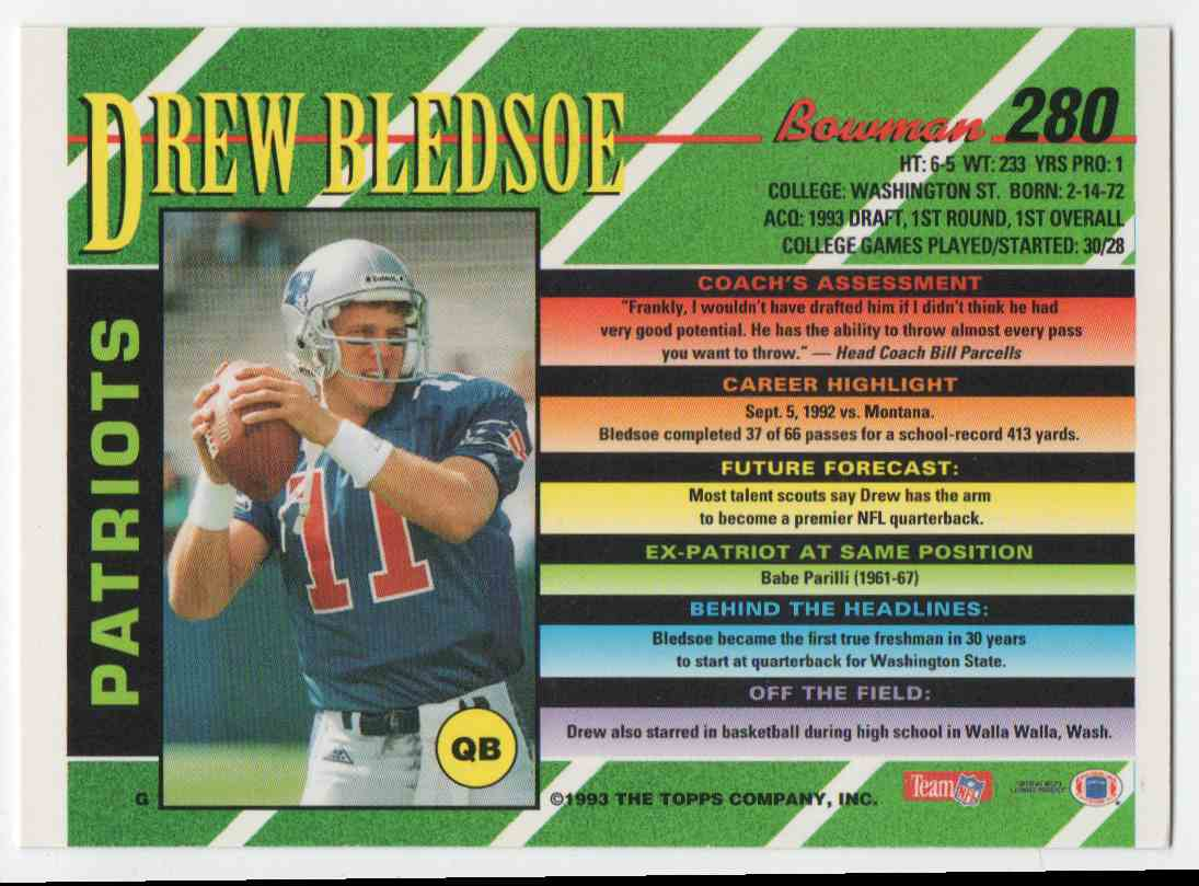 1993 Bowman Drew Bledsoe #280 card back image