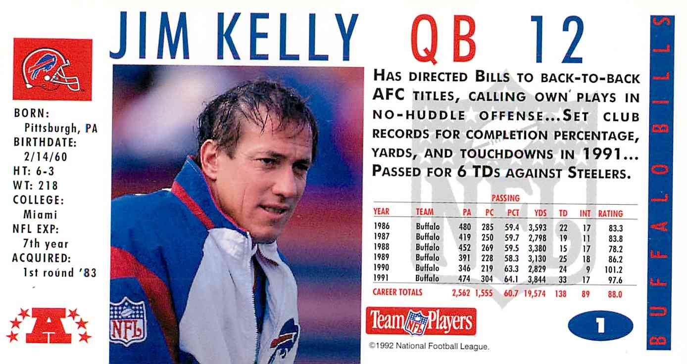 Real card back image 1992 Game Day Jim Kelly  1 card back image 960876b3d