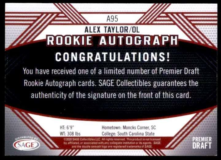 2020 Sage Hit Alex Taylor #A95 card back image