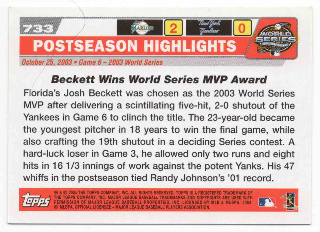 2004 Topps Josh Beckett #733 card back image