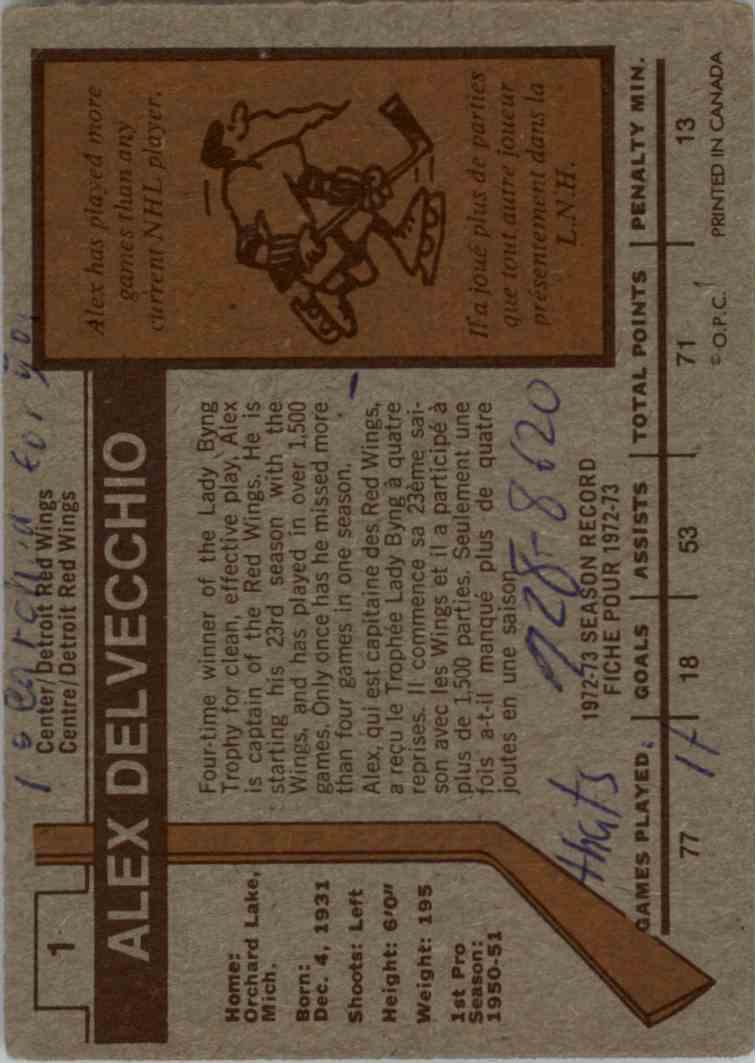 1973-74 O-Pee-Chee Alex Delvecchio #1 card back image