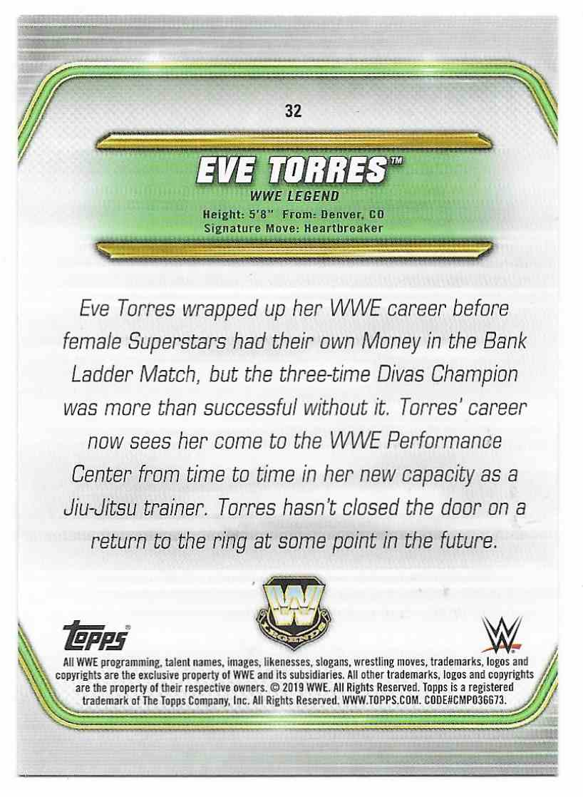 2019 Topps Wwe Money In Then Bank Bronze Eve Torres #32 card back image