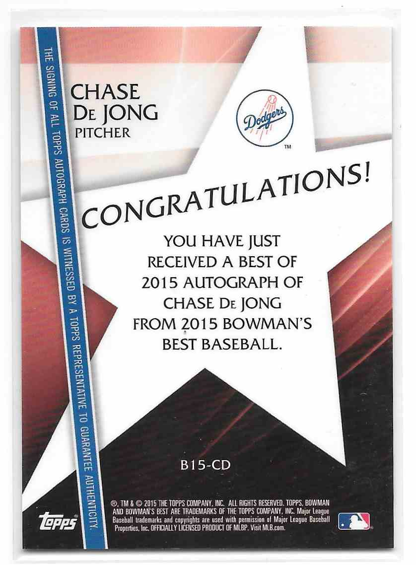 2015 Bowman's Best Chase De Jong #B15-CD card back image