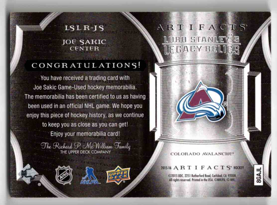 2015-16 Upper Deck Artifacts Lord Stanley's Legacy Relics Gold Joe Sakic #LSLR-JS card back image