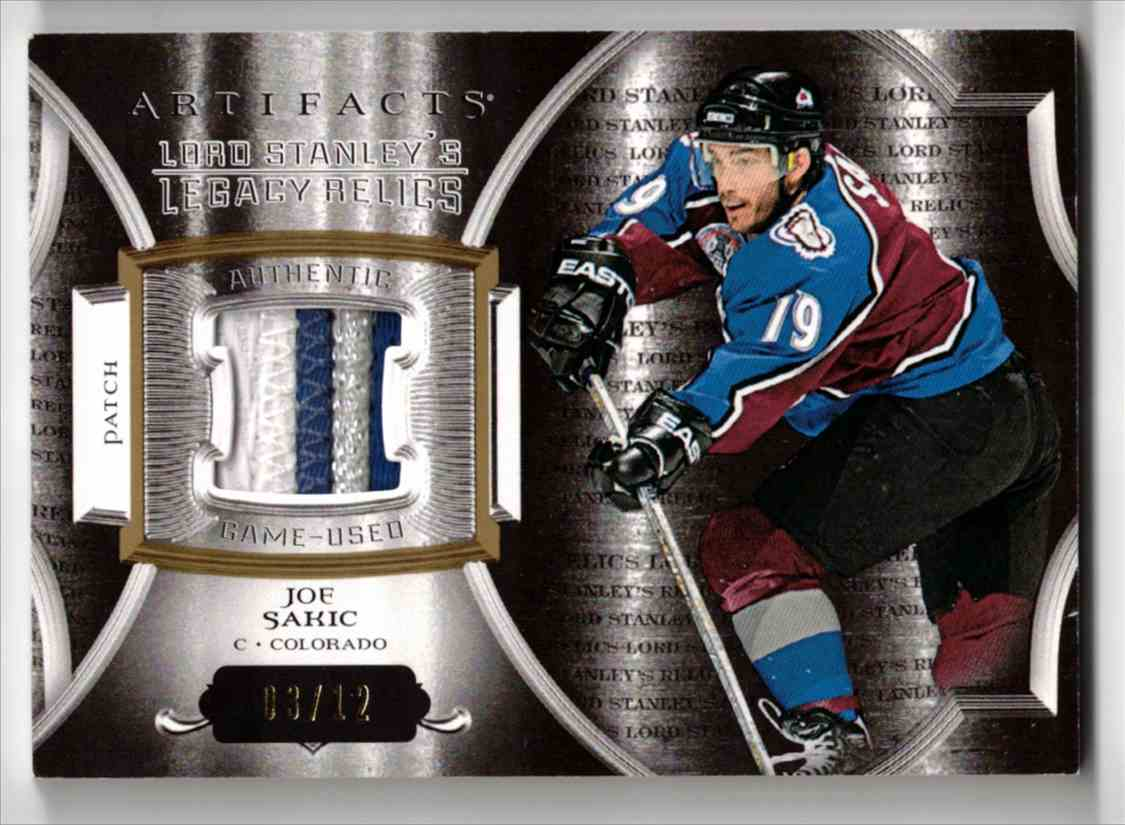 2015-16 Upper Deck Artifacts Lord Stanley's Legacy Relics Gold Joe Sakic #LSLR-JS card front image
