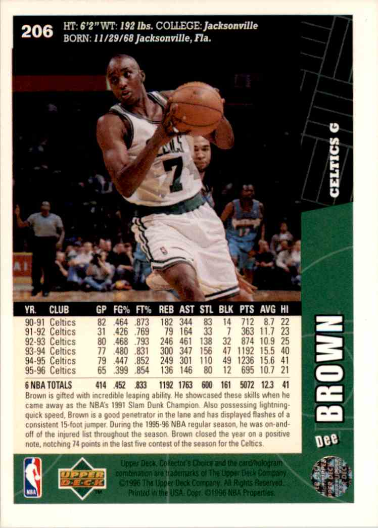 1996-97 Collector's Choice Dee Brown #206 card back image
