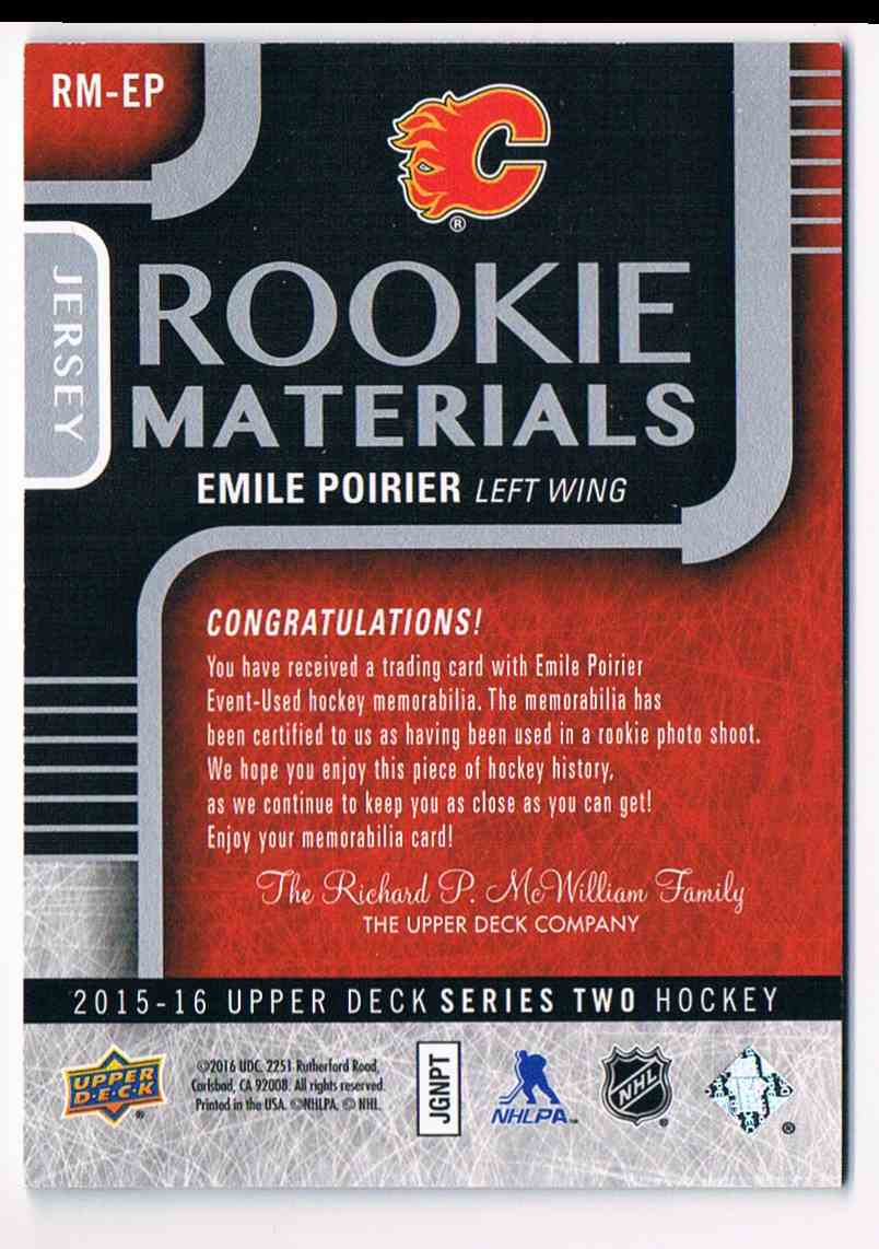 2015-16 Upper Deck Rookie Materials Emile Poirier #RM-EP card back image