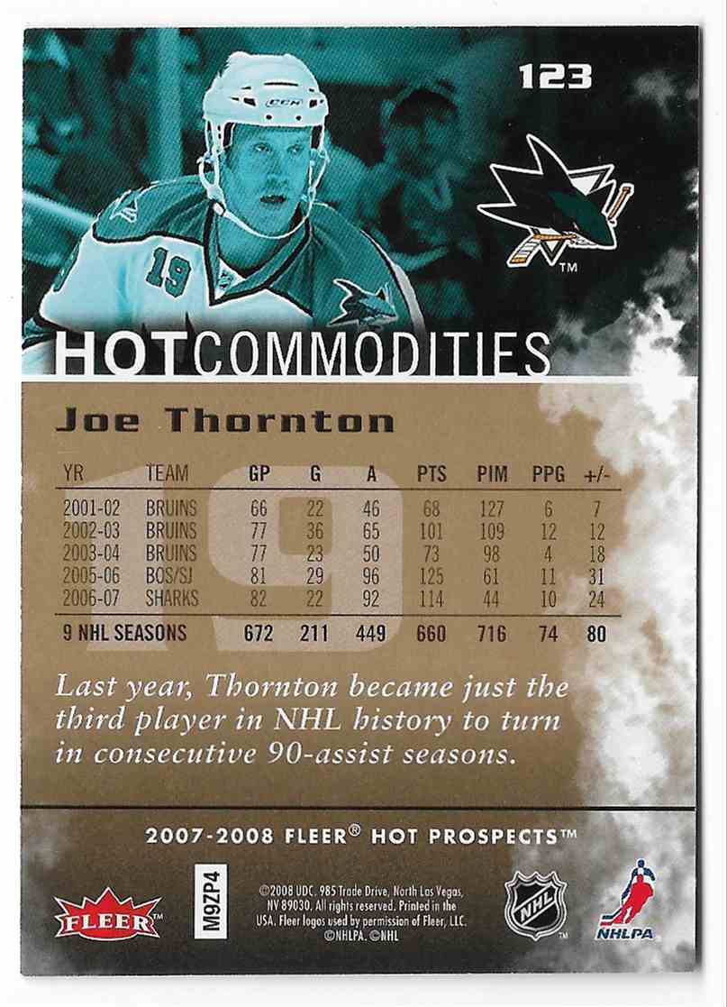 2007-08 Fleer Hot Prospects Joe Thornton #123 card back image
