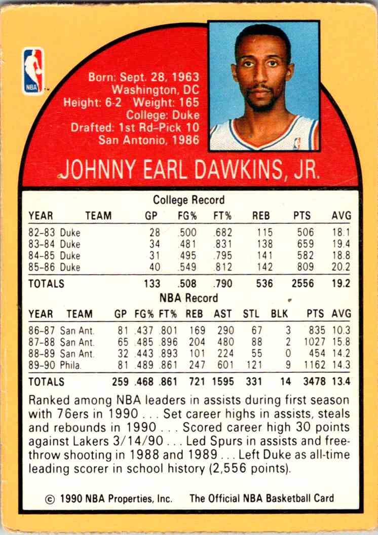 1990-91 NBA Hoops Johhny Dawkins card back image
