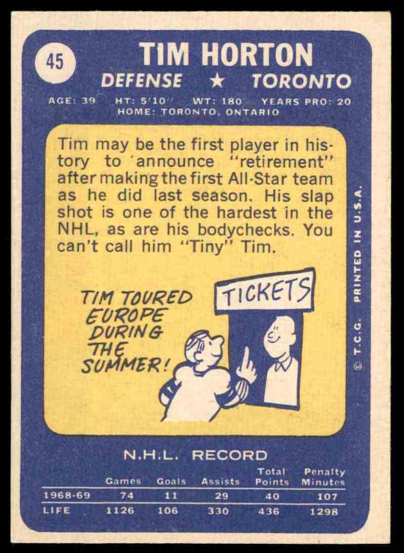 1969-70 Topps Tim Horton #45 card back image
