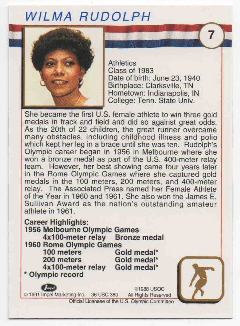 1991 Impel U.S. Olympic Hall Of Fame Wilma Rudolph #7 card back image
