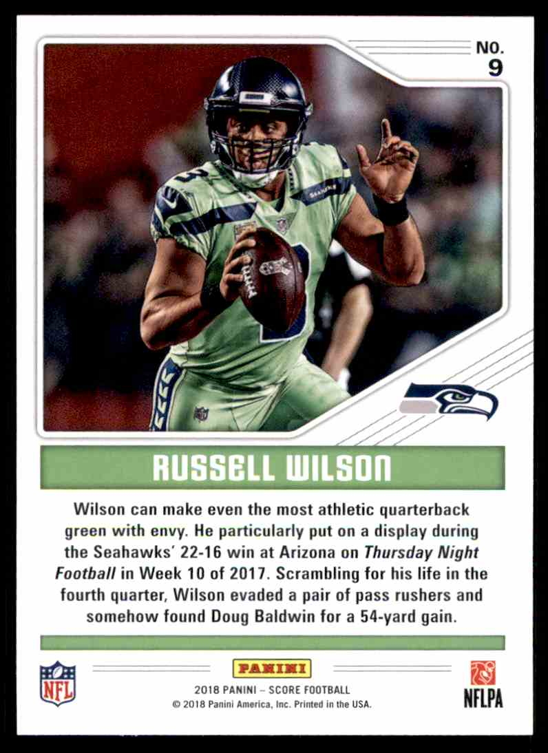 Real card back image 2018 Score Color Rush Russell Wilson  9 card back image 591903c8e