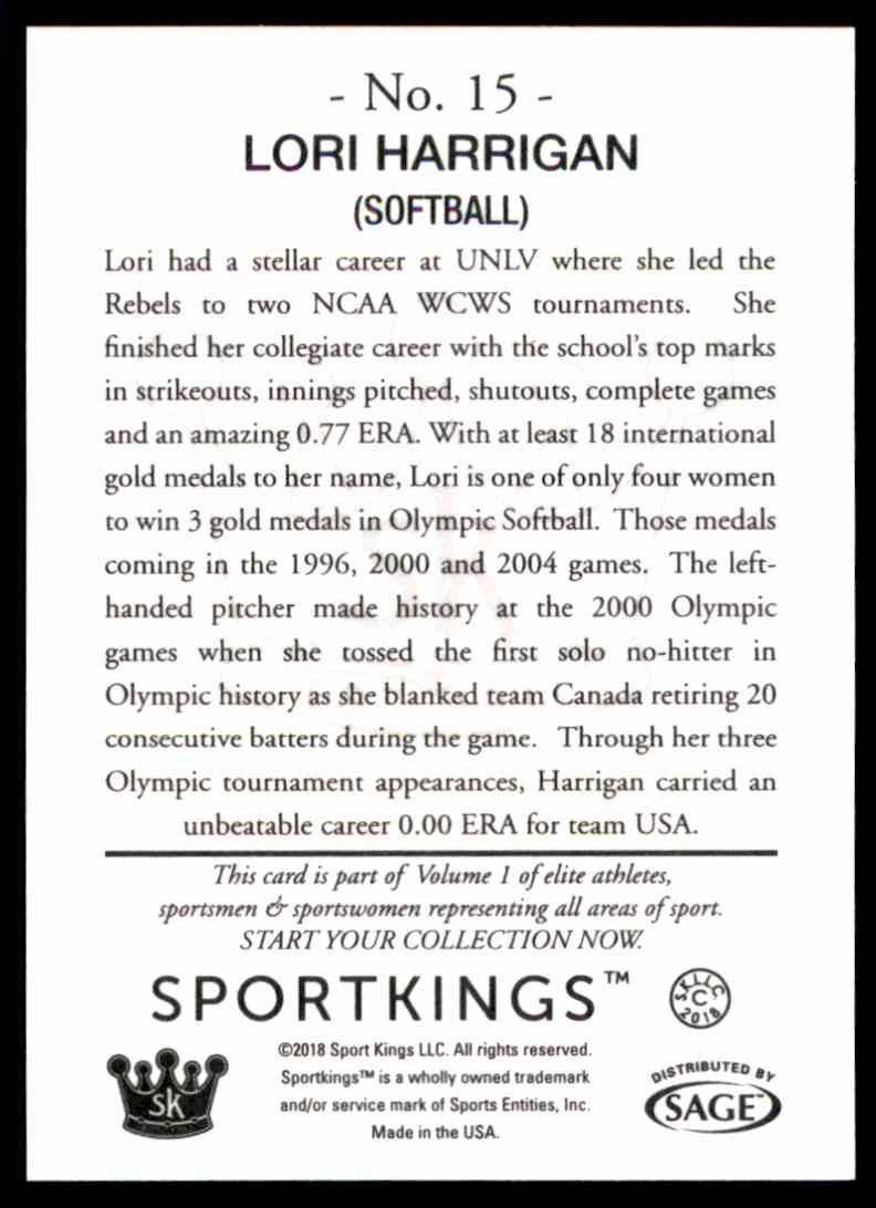 2018 Sportkings Black Back Retail Lori Harrigan #15 card back image