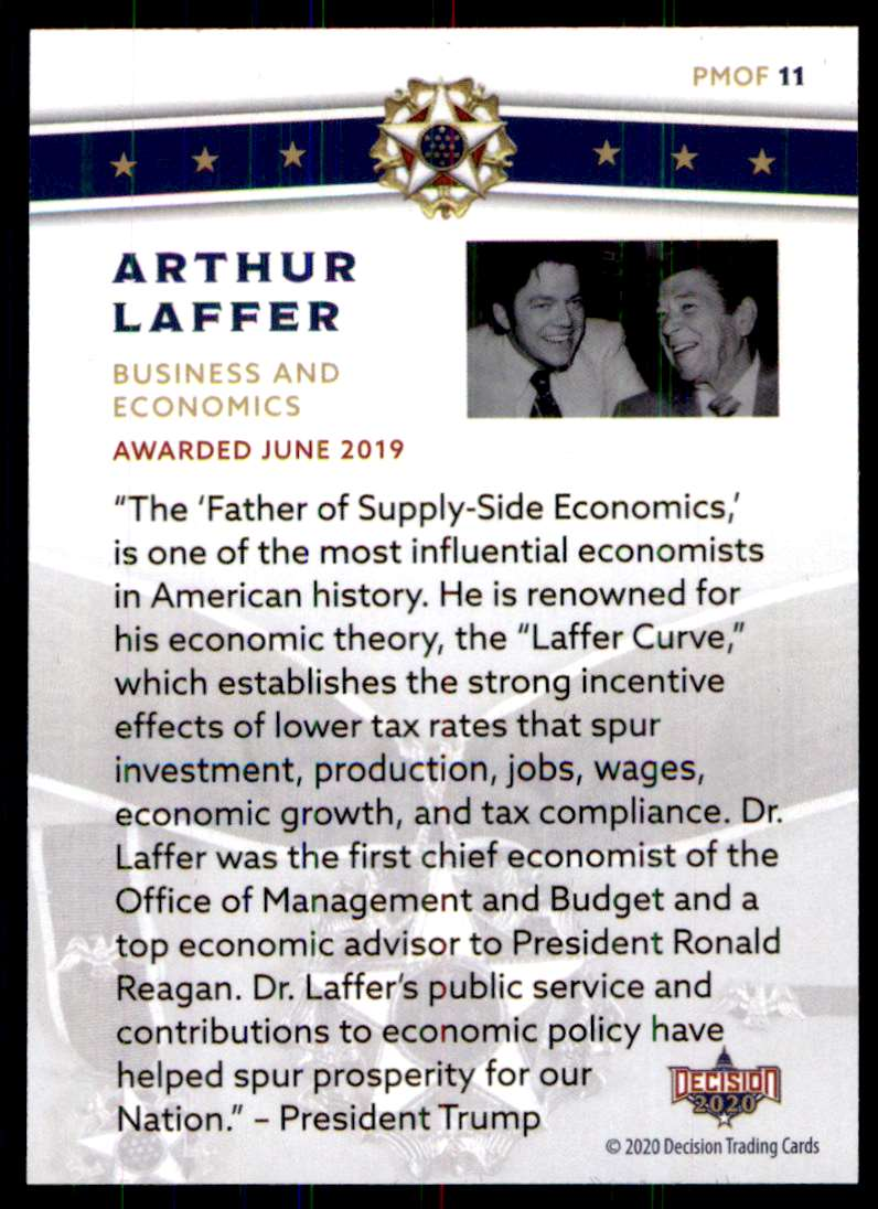 2020 Decision Presidential Medal Of Freedom Arthur Lafferty #PMOF11 card back image