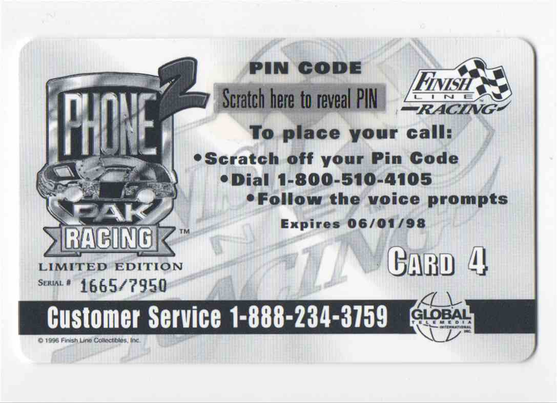 1997 Finish Line Phone Pak Racing 2 Phone Cards Rusty Wallace #4 card back image