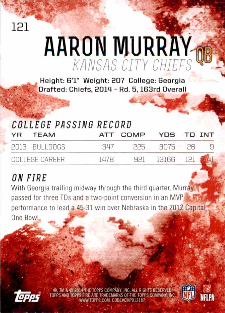 2014 Topps Fire Aaron Murray RC #121 card back image