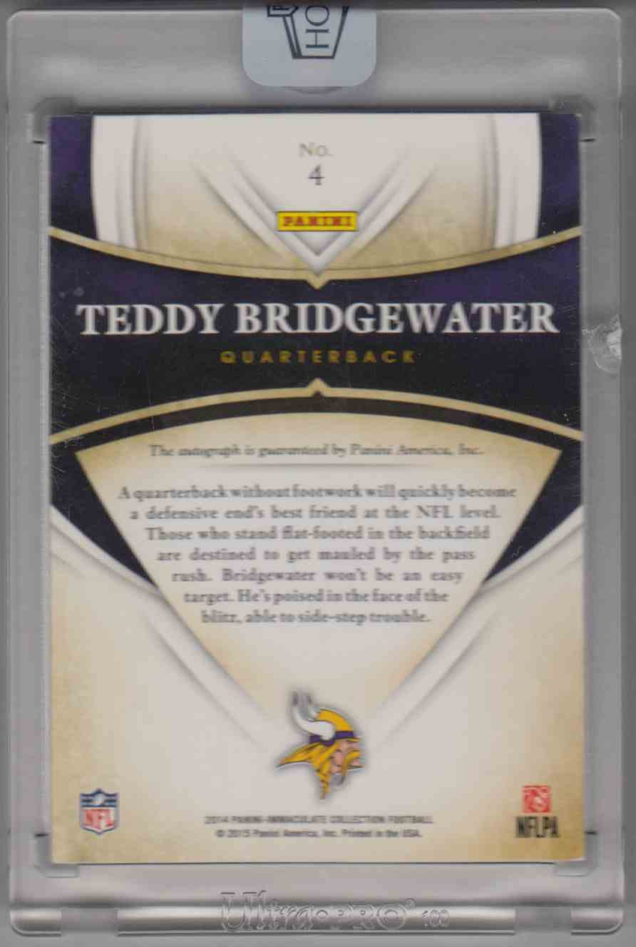2016 Panini Honors Recollection Collection - 2014 Immaculate Teddy Bridgewater #4 card back image