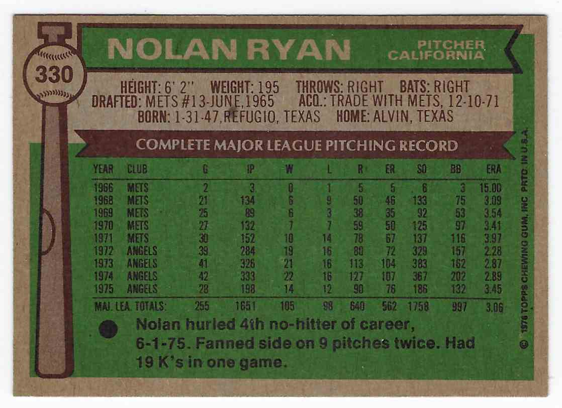 1976 Topps Nolan Ryan #330 card back image