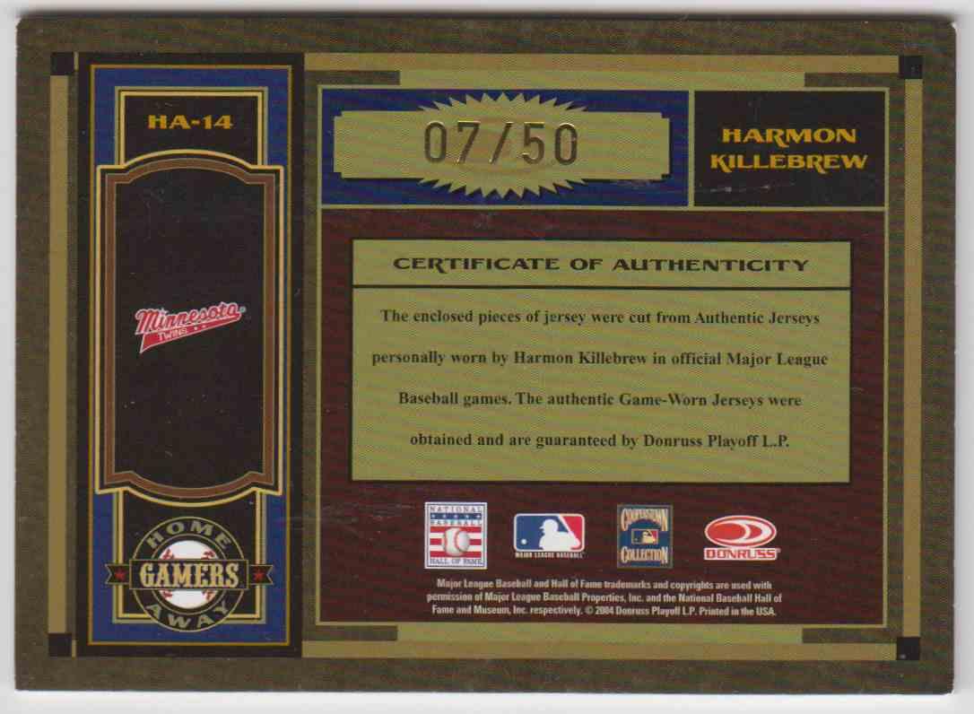 2004 Donruss Timeless Treasures Hof Jersey Away/Home Harmon Killebrew #HA-14 card back image