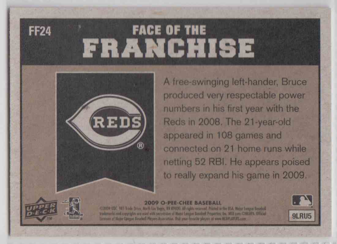 2009 O-Pee-Chee Face Of The Franchise Jay Bruce #FF24 card back image