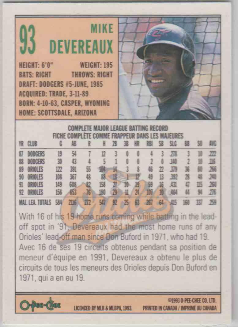 1993 O-Pee-Chee Mike Devereaux #93 card back image