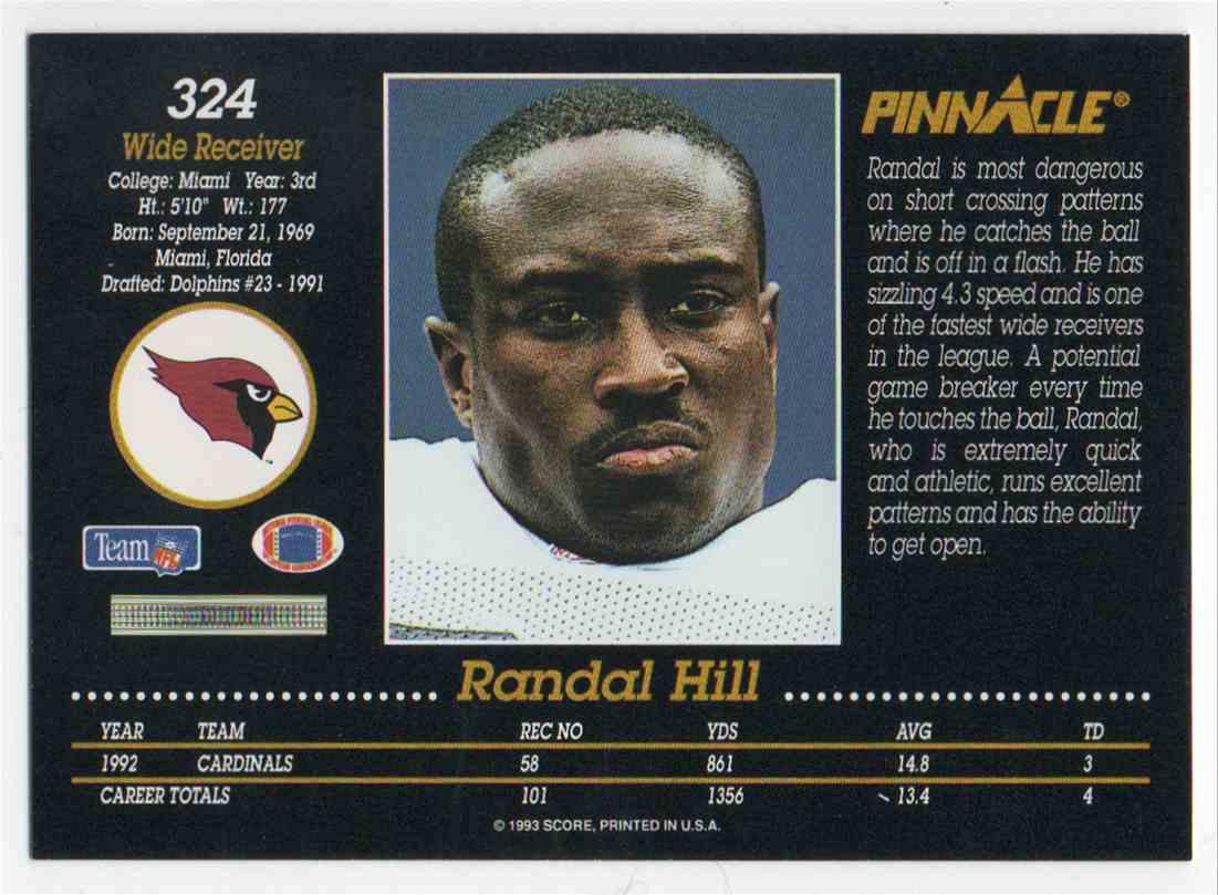 1993 Pinnacle Randal Hill #324 card back image
